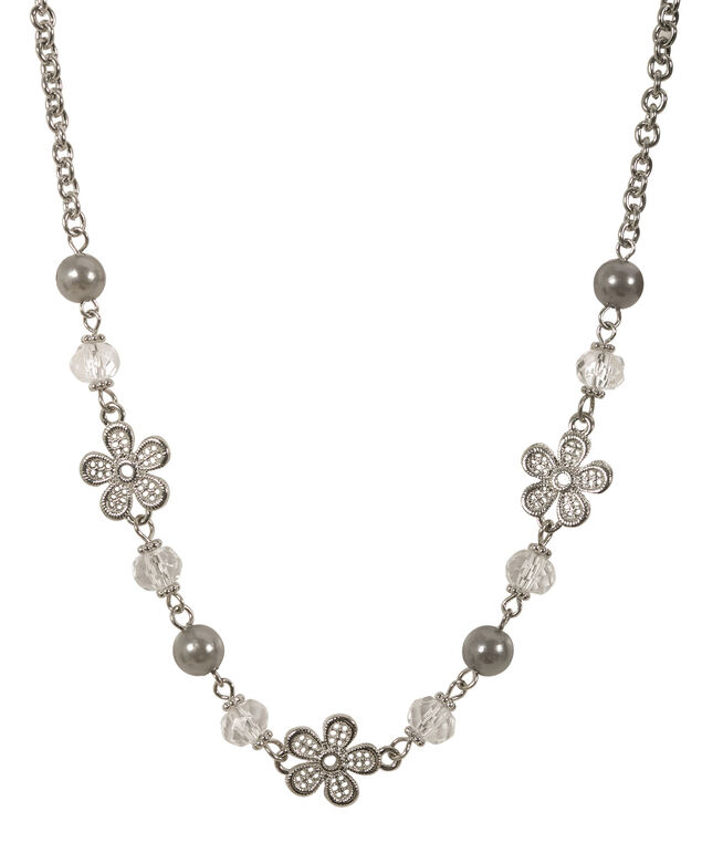 Stationed Flower & Bead Necklace, Grey/Rhodium, hi-res