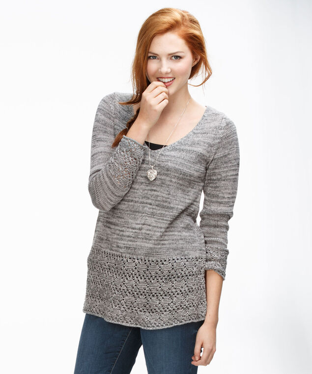 Crochet Hem Pullover, Grey Mix, hi-res