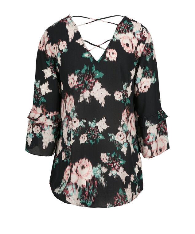 Criss Cross Back Blouse, Pink Print, hi-res