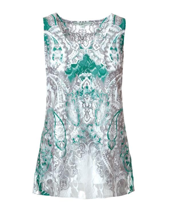 Lace Sublimation Print Top, Mint/White/Grey, hi-res