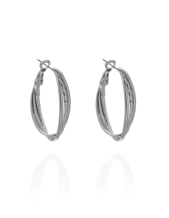 Silver Textured Oval Earring, Silver, hi-res