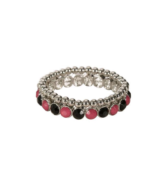 Ring & Bead Bracelet Set, Vibrant Pink/Black/Rhodium, hi-res