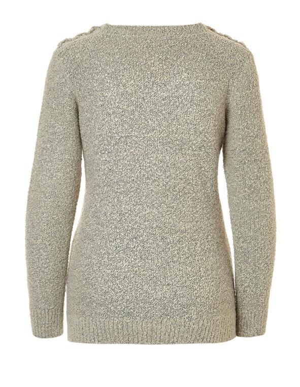 Latte V-Neck Tie Up Sweater, Latte/Black, hi-res