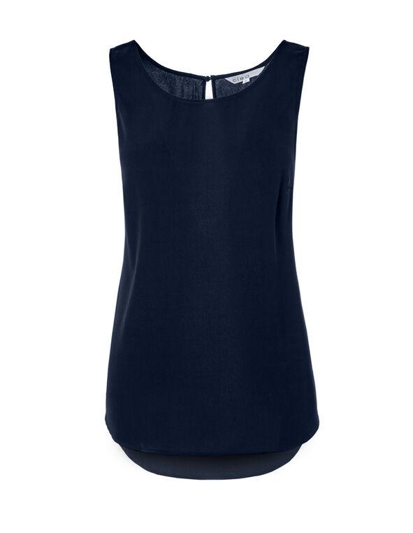 Navy Shirt Tail Blouse, Navy, hi-res