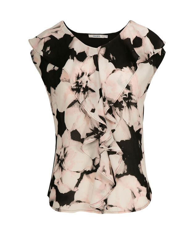Extended Sleeve Ruffle Front, Pink Floral, hi-res