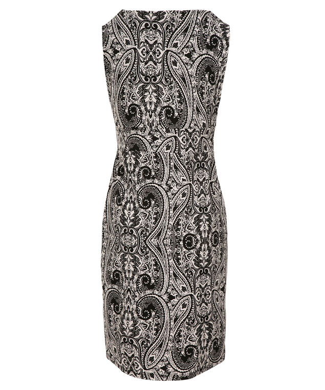 Crossover Wrap Dress, Black/White Print, hi-res