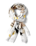 Yellow Floral Textured Scarf, Yellow/Black/White, hi-res