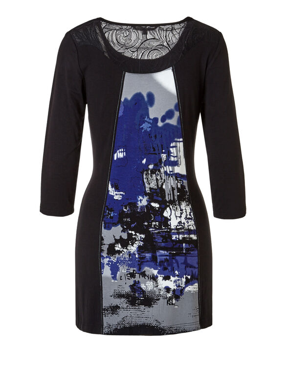 Abstract Print Tunic Top, Black/Ivory/Royal Blue, hi-res