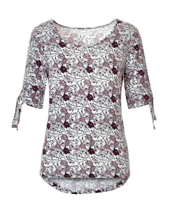 Floral Print Sleeve Tie Tee, White/Bordeaux/Peony, hi-res