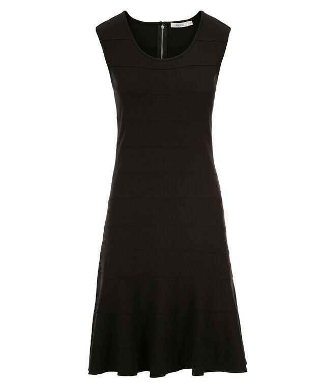 Banded Flounce Dress, Black, hi-res