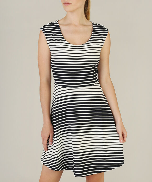 jersey fit and flare dress - wb, WHITE/BLACK, hi-res