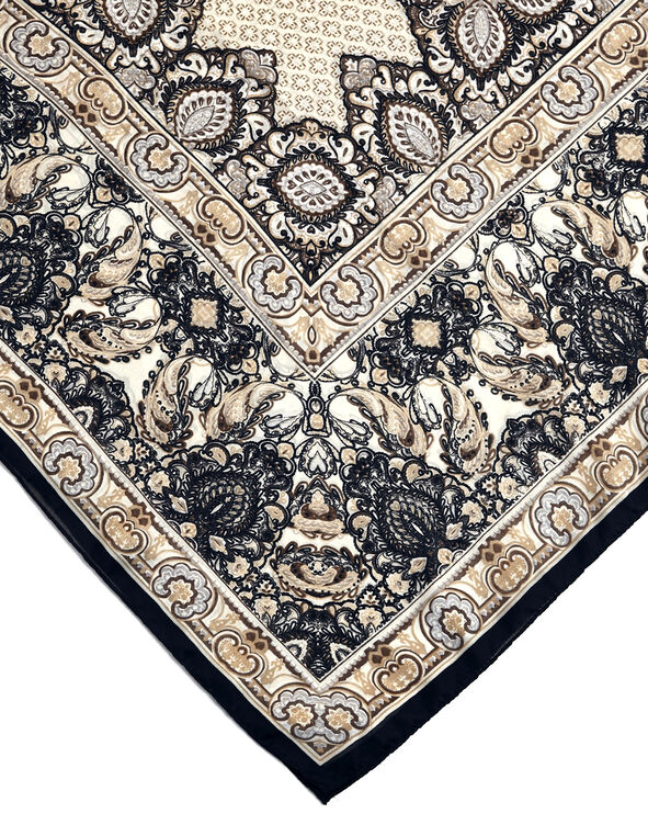 Navy Paisley Square Scarf, Neutral/Navy/White/Grey, hi-res
