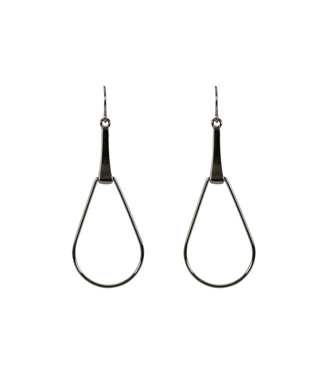 Cutout Teardrop Earring, Rhodium, hi-res