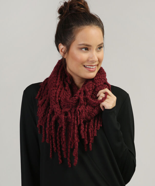 infinity scarf with large fringe, CRANBERRY, hi-res