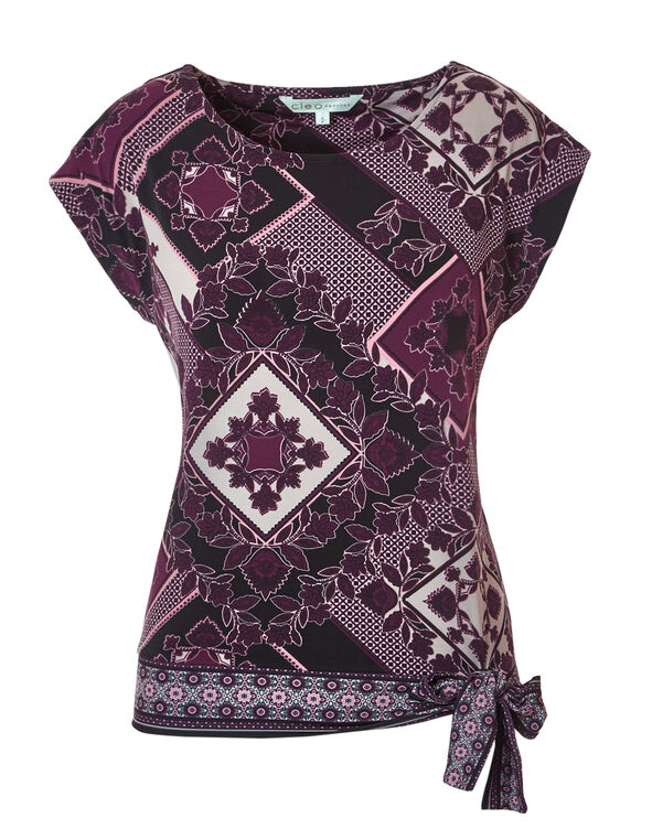 Floral Tile Side Tie Top, Black/Bordeaux/Peony, hi-res