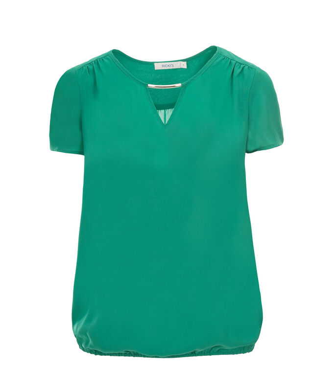 Cap Sleeve Bubble Blouse, Green, hi-res