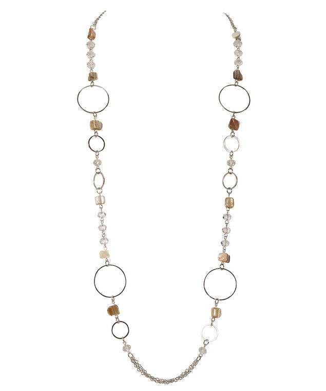 Stationed Bead & Circle Necklace, Rhodium, hi-res