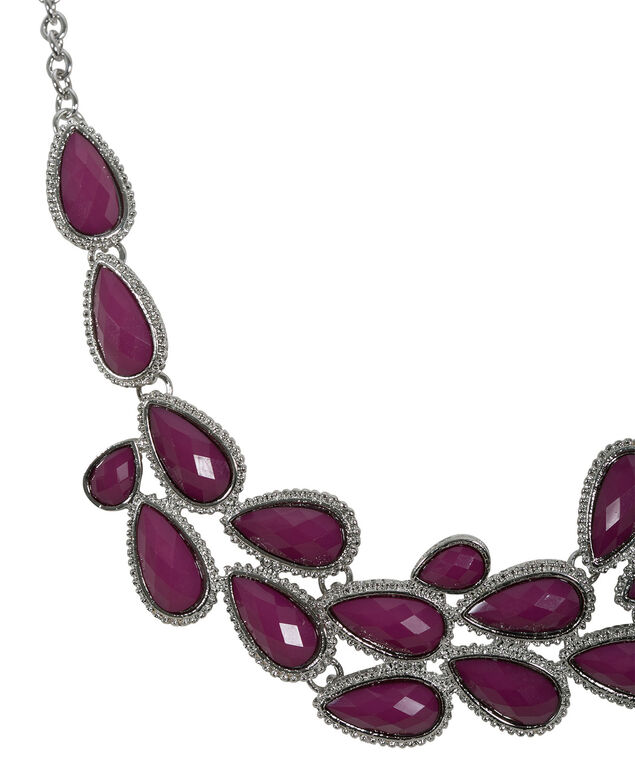 Plum Statement Necklace, Plum/Rhodium, hi-res