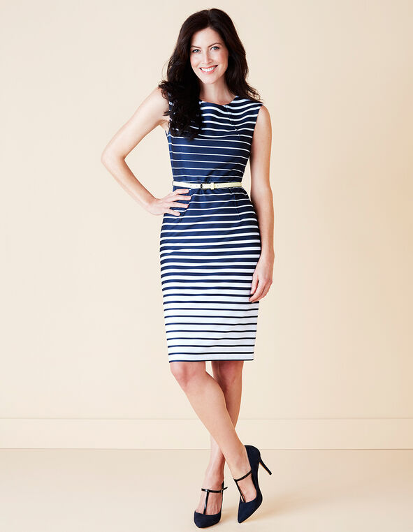 Navy Stripe Sheath Dress, Navy/White, hi-res