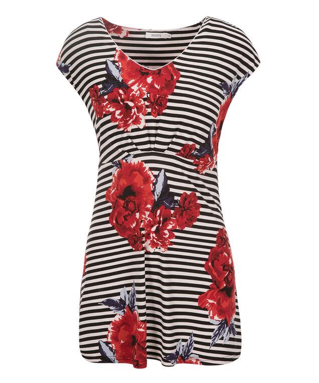 Extended Sleeve V-neck Tunic, White/Red/Blue Print, hi-res