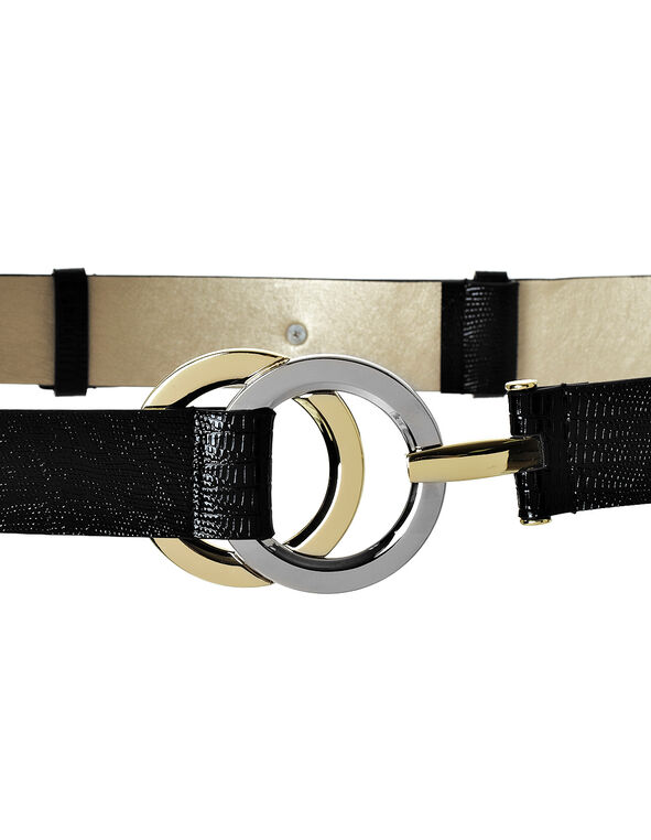 Double Ring Adjustable Belt, Black/Gold/Rhodium, hi-res