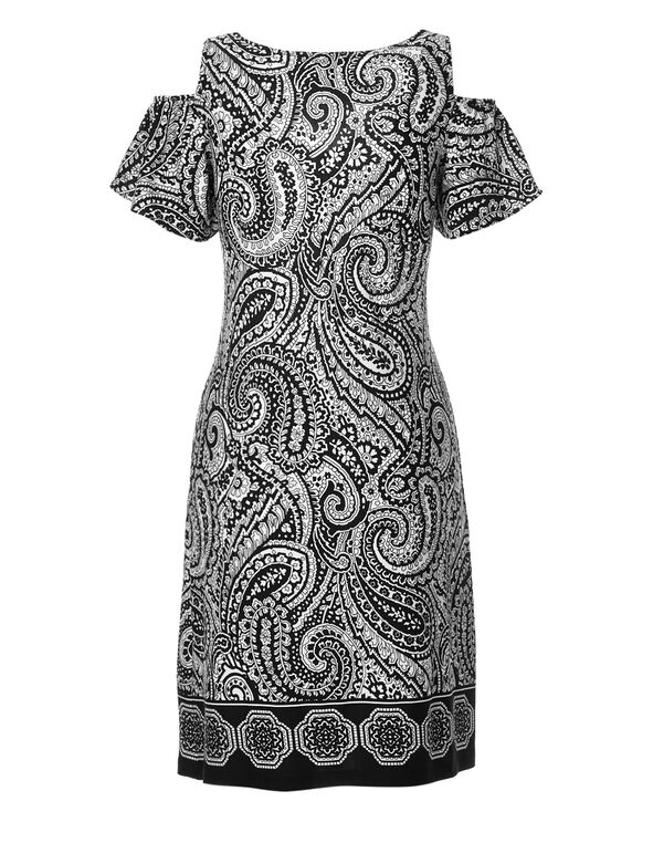 Black Paisley Cold Shoulder Dress, Black/White, hi-res