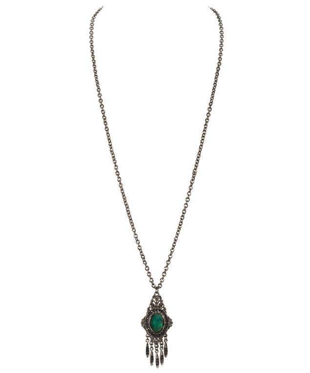 Green Stone Pendant Necklace, Juniper/Hematite, hi-res