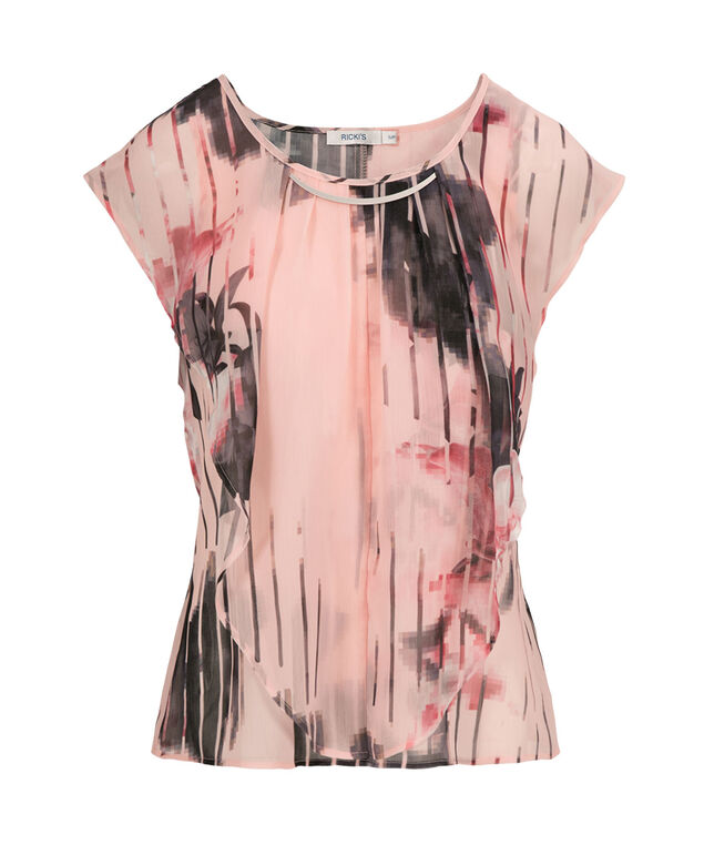 Extended Sleeve Ruffle Front, Pink Print, hi-res