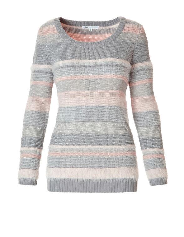 Stripe Feather Yarn Sweater, Grey/Ballet Pink, hi-res