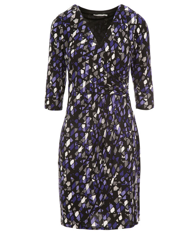 Side Knot Wrap Dress, Purple Geo Print, hi-res