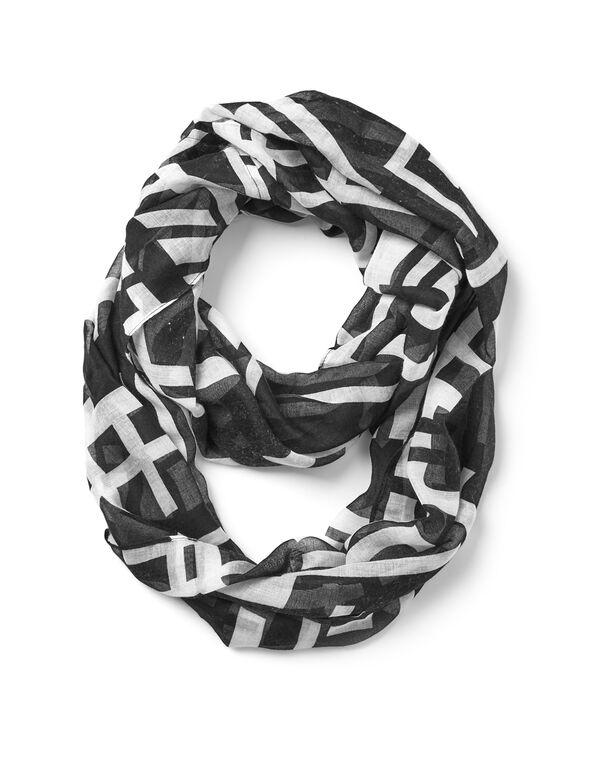 Geometric Loop Scarf, Black/White, hi-res