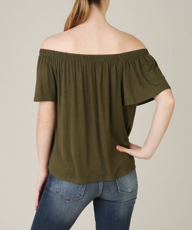 off the shoulder flutter top, OLIVE, hi-res
