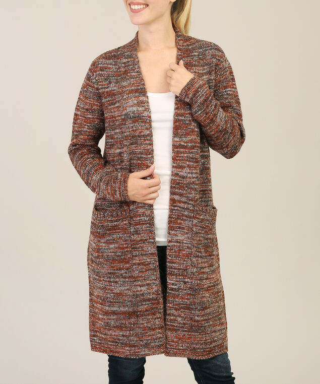 space dye cardigan, RUST/BLACK MEL, hi-res