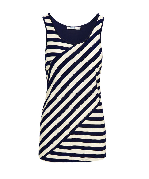 Spliced Stripe Tank, Deep Sapphire Pattern, hi-res