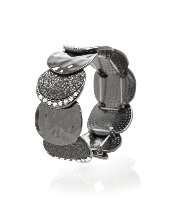 Glitter Hematite Stretch Bracelet, Hematite, hi-res