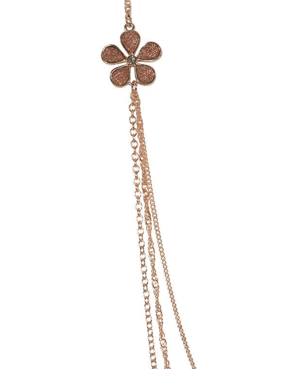 Glitter Flower Necklace, Rose Gold, hi-res