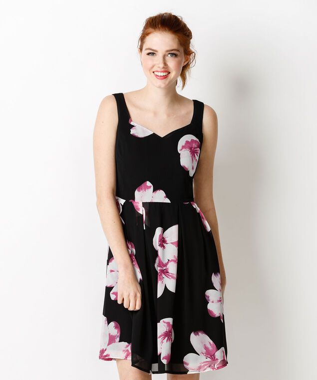 Sweetheart Neck Floral Dress, Black/Pink Print, hi-res
