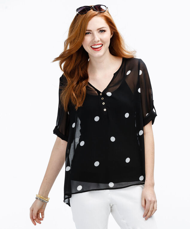 Roll Cuff Button Back Blouse, Black Print, hi-res