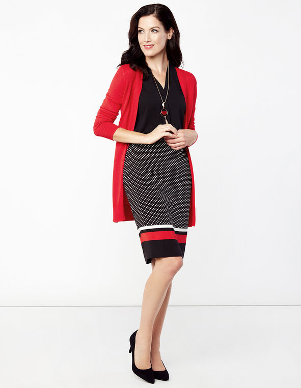 Polka Dot Pencil Skirt, Black Dot/Red Stripe, hi-res