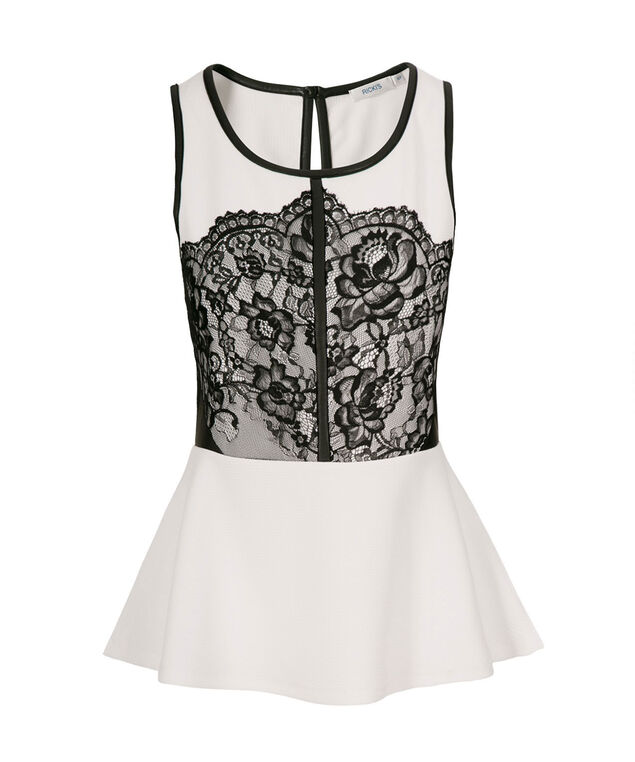 Lace Trim Peplum, True White, hi-res