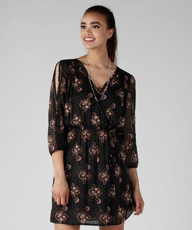 Cold Shoulder Print Dress, Black Print, hi-res