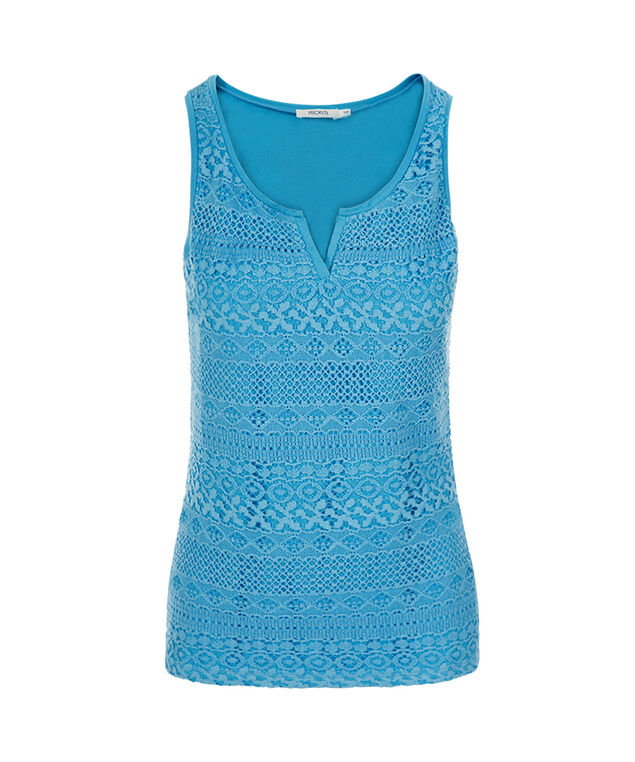 Crochet Notch Neck Tank, Ocean, hi-res