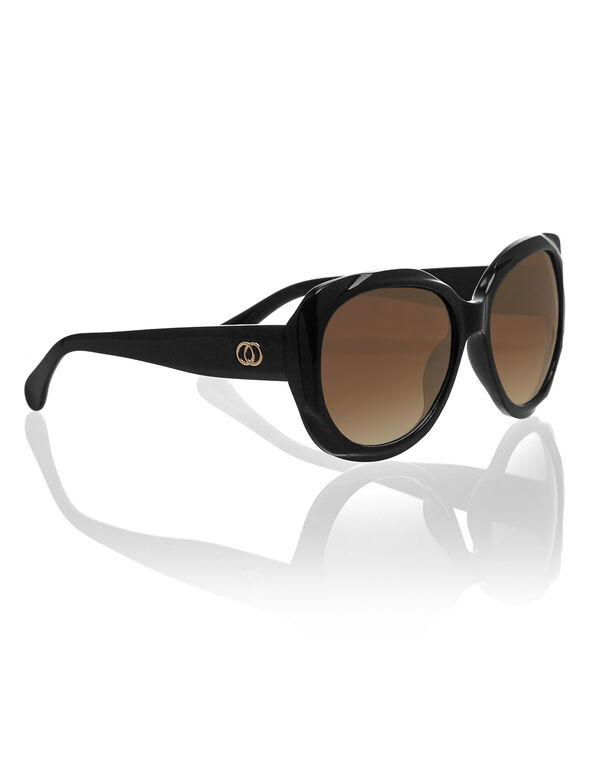 Black Sculpture Frame Sunglasses, Black, hi-res