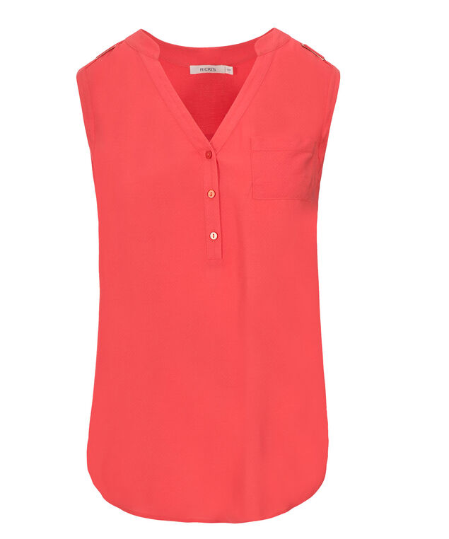 Henley Blouse Tank, Burnt Coral, hi-res