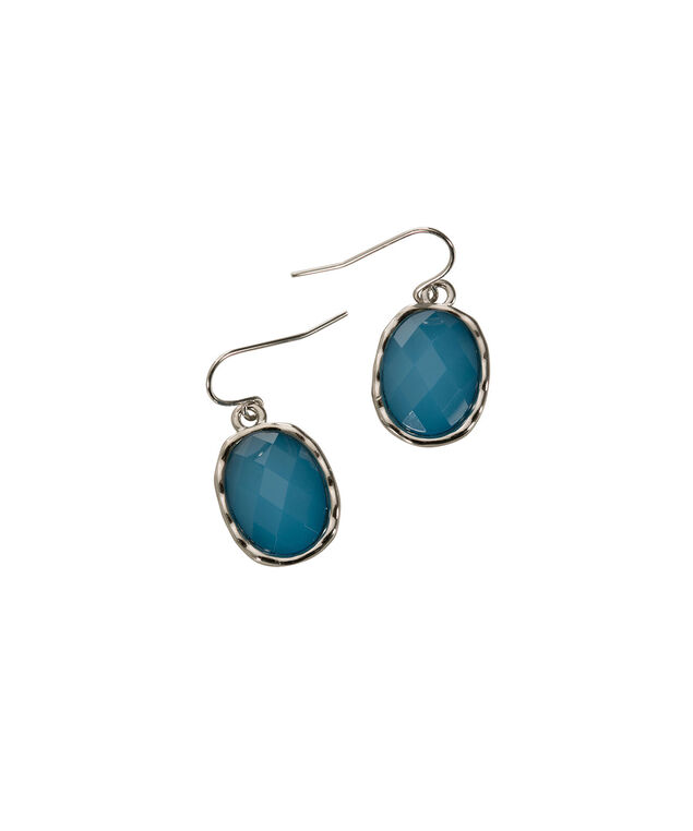 Faceted Stone Earring, Turquoise/Rhodium, hi-res