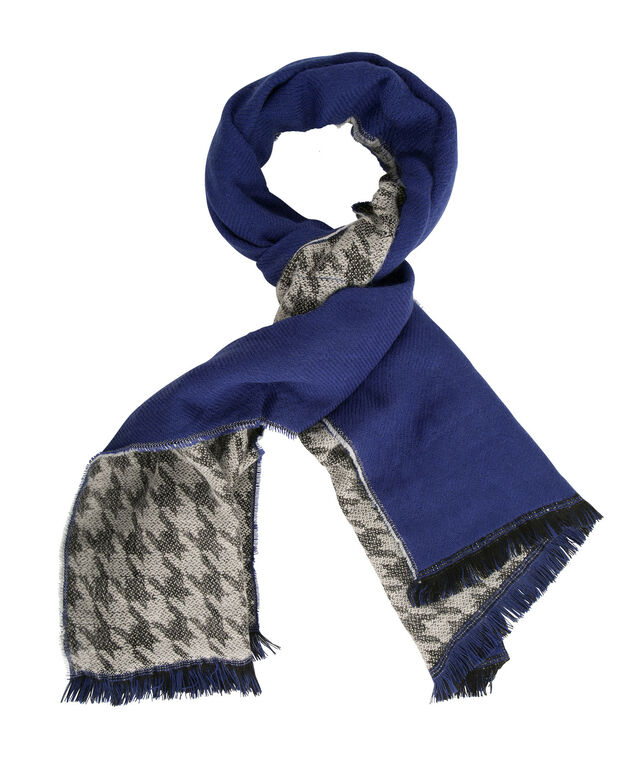 Reversible Blanket Scarf, Royal Blue/Black/Milkshake, hi-res