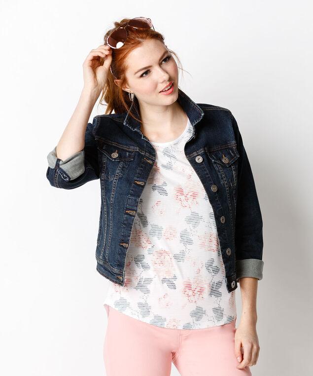 Floral Lace Top, White Print, hi-res