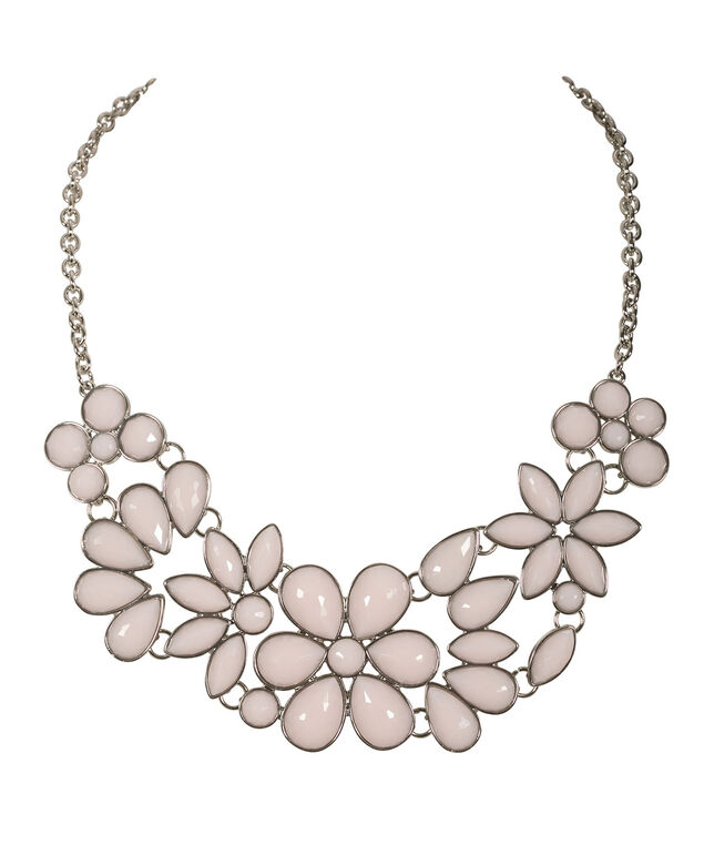 Floral Statement Necklace, Misty Pink/Rhodium, hi-res