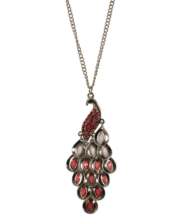 Pretty Peacock Necklace, Strawberry Daiquiri/Rhodium, hi-res