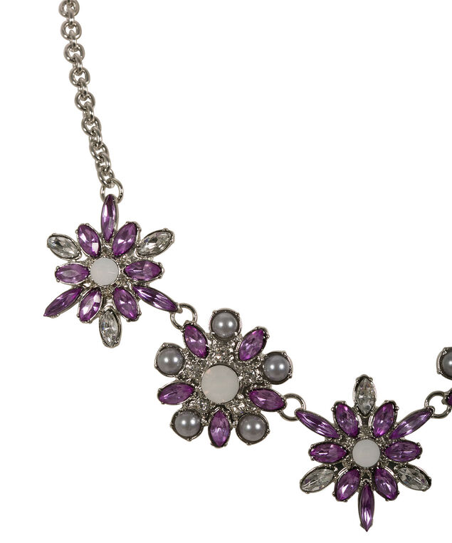 Floral & Crystal Statement Necklace, Purple/Rhodium, hi-res